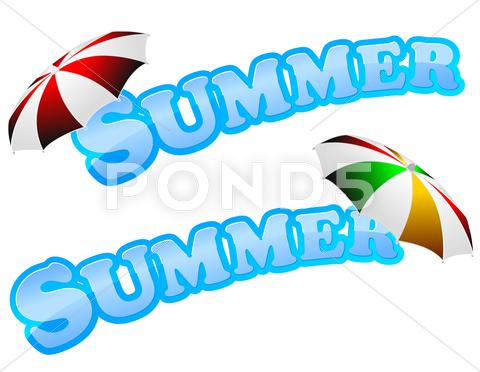 Stock Illustration of summer sign with umbrella