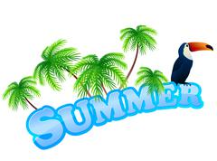 Summer sign with toukan Stock Illustration