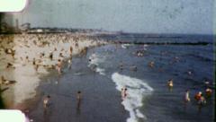 CROWDS AT CONEY ISLAND Beach 1950 (Vintage Old Film Home Movie Footage) 3946 Stock Footage