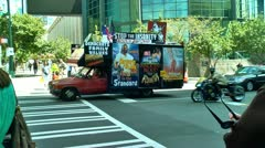 Christian truck drives around charlotte during democratic national convention Stock Footage