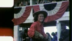 Pretty RODEO GIRL Cowgirl Rides Horse 1950s Vintage Film Home Movie 3955 Stock Footage