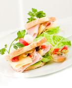 Toast with cheese and ham Stock Photos