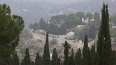 Panoramic view to Jerusalem from Ein Kerem disctrict, time lapse Stock Footage