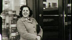 SHOP Sales GIRLS Exit Store Street USA Early 1940s Vintage Film Home Movie 3978 Stock Footage
