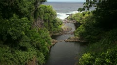 Lower Seven Sacred Pools, Waterfall, Maui, Hana, Hawaii, Stock Footage