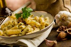 pasta with walnut pesto - stock photo