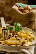 pasta with walnut pesto - stock photo