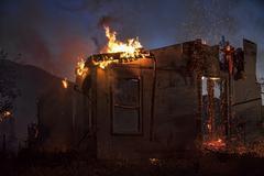 Night arson house fire total destruction 9219.jpg - stock photo