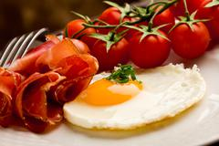 english breakfast with eggs and bacon - stock photo