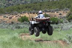 ATV jump away 0891.jpg Stock Photos