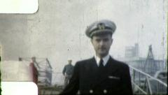 Naval Officer Gangway SAILORS NAVY WW2 1940s Vintage Film Retro Home Movie 4005 Stock Footage