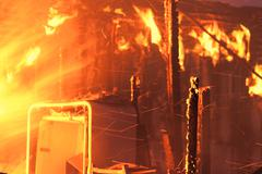 House fire inferno blaze inside night 7925.jpg Stock Photos