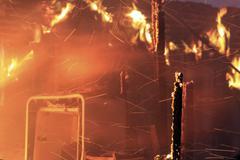 House fire total destruction arson 7926.jpg - stock photo