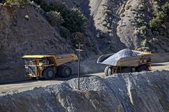 Kennecott Copper Mine trucks on road 0792.jpg - stock photo