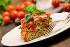 homemade lasegne with ricotta cheese and spinach - stock photo