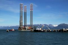 jackup oil drilling rig in the kachemak bay, alaska - stock photo