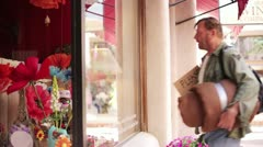Homeless Man Looking into Store Window - Model Released Stock Footage