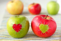 green and red apple with - stock photo