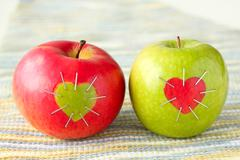 green and red apple - stock photo