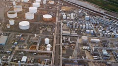 Aerial view of storage tanks and Industrial refinery, USA Stock Footage