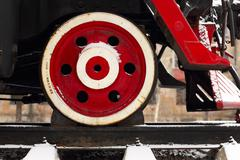 locomotive wheel - stock photo