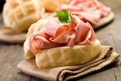 Stock Photo of sandwich with mortadella sausage