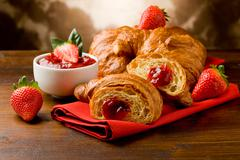 croissants with marmelade - stock photo