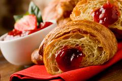 Croissants with marmelade Stock Photos