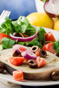 grilled swordfish with mixed salad - stock photo
