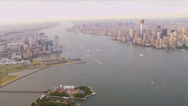 Aerial view New Jersey,  Manhattan Financial district,  New York, USA Stock Footage