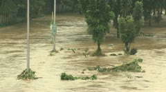 River In Full Flood After Monsoon Rains Manila Philippines Stock Footage