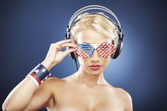 Portrait of  model with american inspired accessories. Stock Photos