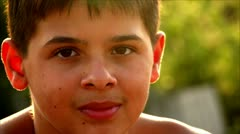 Teenager face close up 2 Stock Footage