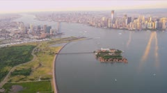 Aerial view New Jersey Hudson river, Manhattan, New York, USA Stock Footage