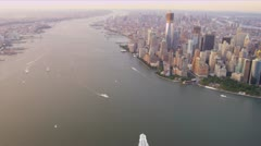 Aerial view skyscrapers Manhattan, 1 WTC,  Hudson river, Battery Park, New York Stock Footage
