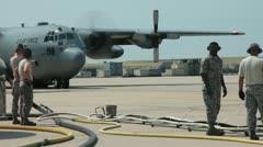 C130 landing (HD) c Stock Footage