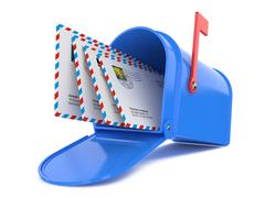 blue mailbox with mails - stock illustration