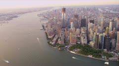 Aerial view One World Trade Centre, Manhattan, New York Stock Footage