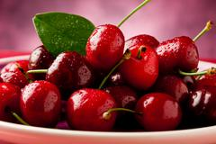 Stock Photo of plate with cherries