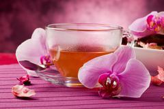 orchid tea - stock photo