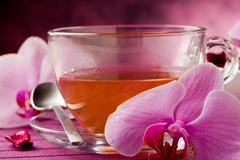 orchid tea - stock photo