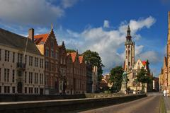 Stock Photo of facade of flemish houses and canal in brugge