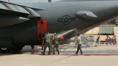 US Air Force C130 being cleaned (HD) c Stock Footage
