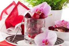cherry cocktail 4 - stock photo