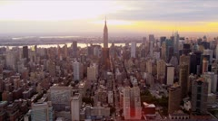 Aerial view Manhattan and Empire State Building, New York - stock footage