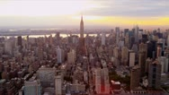 Stock Video Footage of Aerial view Manhattan and Empire State Building, New York
