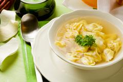 tortellini in bouillon - stock photo