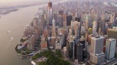 Aerial view One World Trade Centre, Manhattan, New York Stock Footage