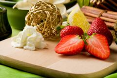Strawberry dessert on cutting board Stock Photos
