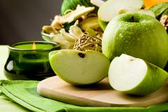 green apple dessert on cutting board - stock photo
